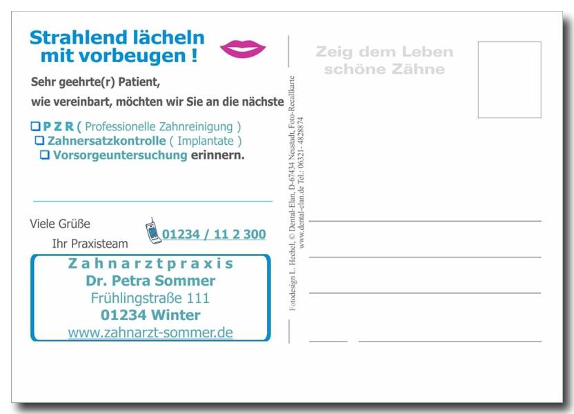 Recallkarte_Rückseite_PZR_Prophylaxe_A1_Zahnarzt_Praxis_L.Hechel_Dental_Elan_LH