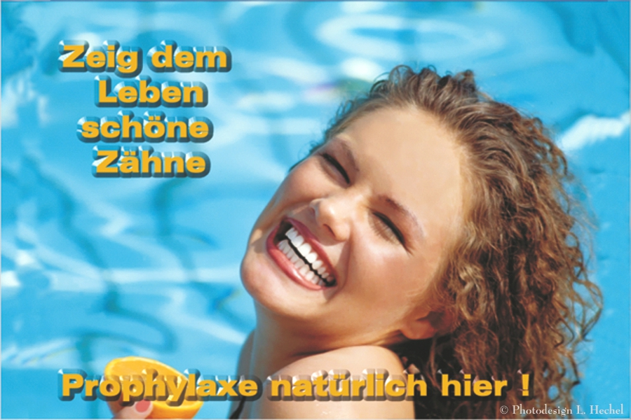 Zahnarztpraxis Recallkarte Motiv Bestseller_Terminkarte Zeig dem Leben schöne Zähne Prophylaxe natürlich Foto L.Hechel